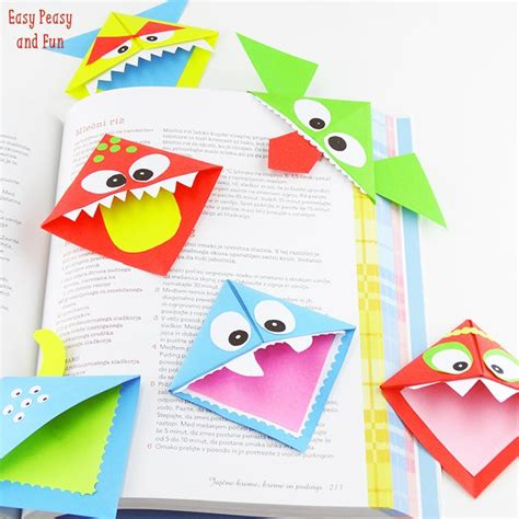 Bookmark Origami - diy corner bookmarks monsters easy peasy and
