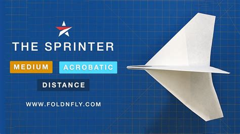 Fold N Fly Paper Airplanes - the sprinter acrobatic paper airplane tricky to throw