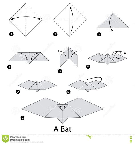 How To Make Bats Out Of Paper - step by step how to make origami a bat stock