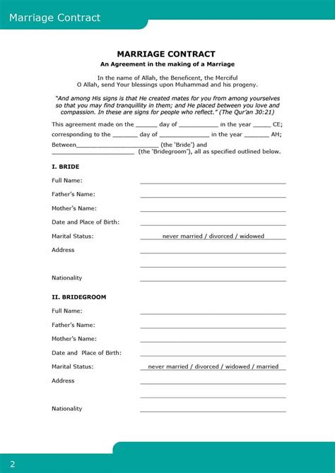 marriage contract template 33 marriage contract templates standart islamic
