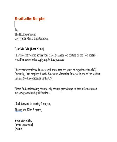 9 sle email application letters free premium templates