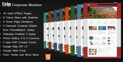 Html5 Templates For Presentation | grip corporate business html template by anjum themeforest
