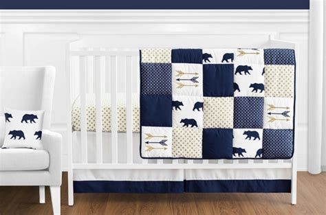 Navy Blue Gold And White Patchwork Big Bear Boy Baby White And Blue Crib Bedding Sets