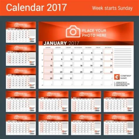 company 2017 desk calendar design vector template 10