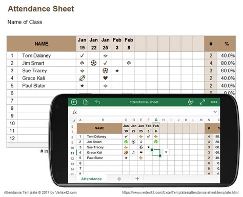 Attendance Sheet For Excel Mobile And Online Attendance Sheet Template Excel