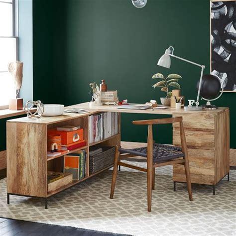 rustic modular desk set box file bookcase west elm