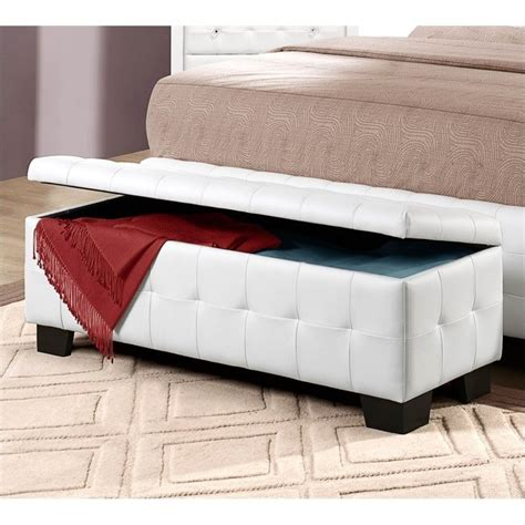 Bedroom Bench With Storage Trent Home Sparkle Lift Top Storage Bench Ottoman In White 2004 13