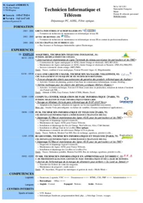 Exemple De Lettre De Motivation Technicien Telecom Exemple De Cv Technicien Telecom