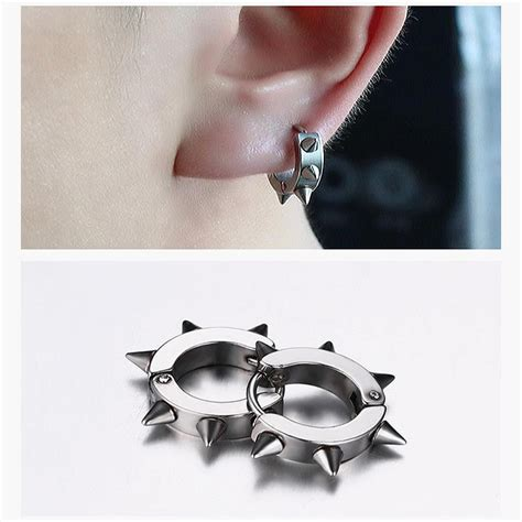 Fashion Exclusive Imports Mens Alloy Stainless Steel White rivets hedgehog rock titanium steel unisex earring for at banggood