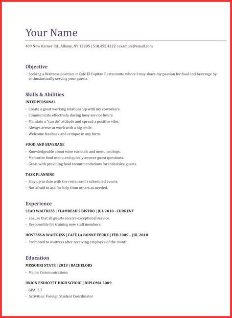 waitress application good resume format