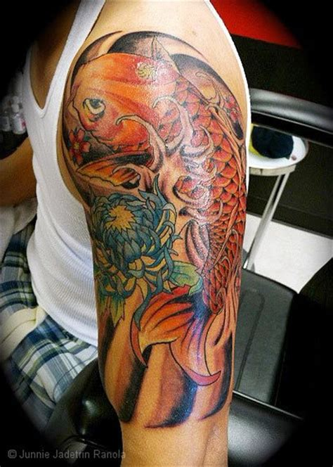 pinterest tattoo koi japanese koi and flower half sleeve tattoo tattoo men