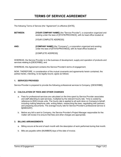 terms of service agreement template sle form