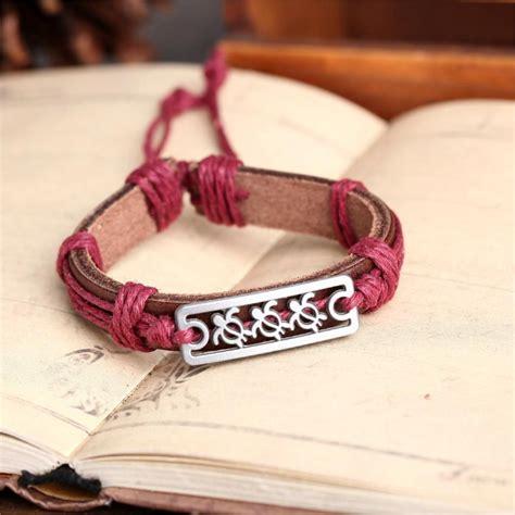 Handmade Bracelets Australia - handmade pu leather bracelet turtle tribal bohemian lb 027