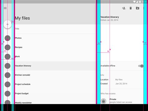 layout design rules in android metrics keylines layout material design