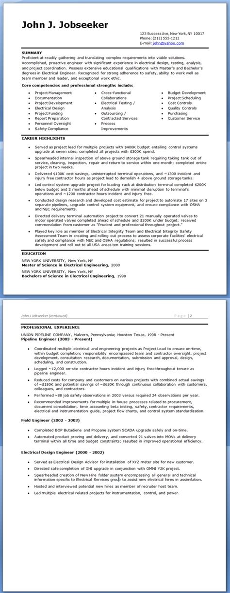 Resume Format Doc For Electrical Engineers Electrical Engineer Resume Sle Doc Experienced Resume Downloads