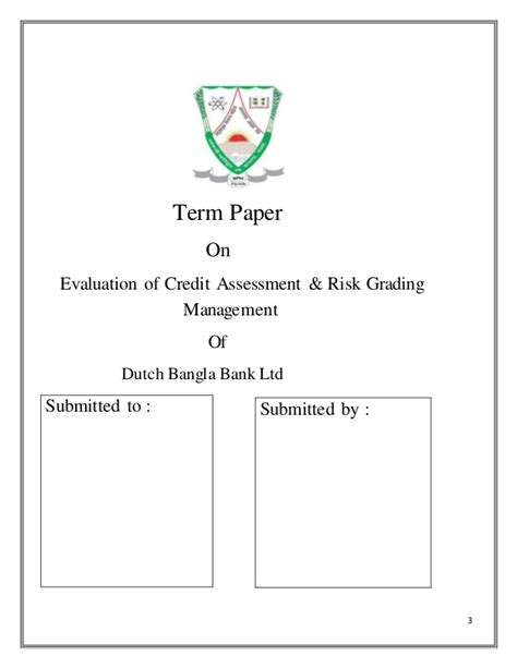 Letter Of Credit Risk Analysis Term Paper On Evaluation Of Credit Assessment Risk Grading Manageme
