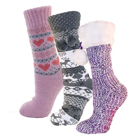 womens boot slippers womens sherpa ankle boot slipper socks knitted warm
