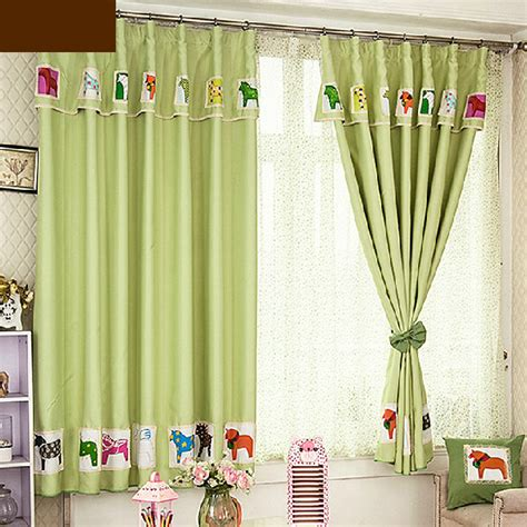 cheap curtains for kids discount green horse patterned kids curtains blackout