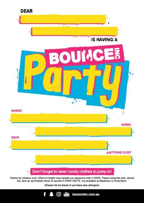 Free Bounce Invitation Template Bounce Australia Party Invites
