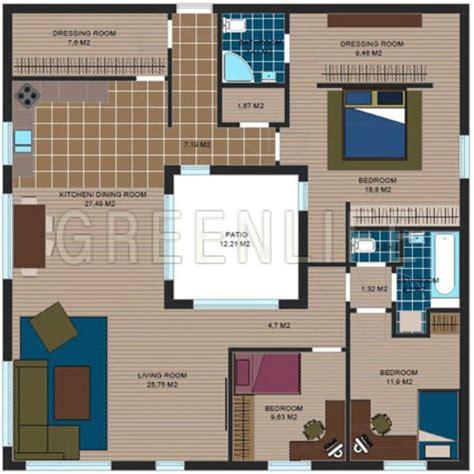 plan maison avec patio central maison bois azzura 145 maison bois greenlife