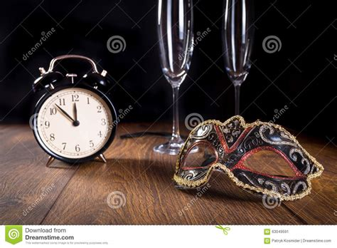 new years midnight new years mask and clock stock image image of countdown