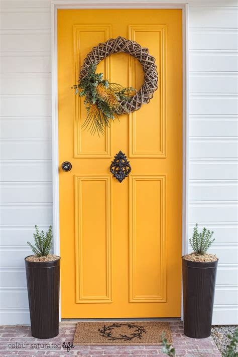 colour saturated front door makeover with modern masters front door paint in optimistic