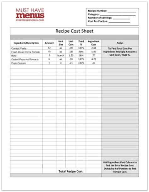 recipe document template recipe cost form template template archive