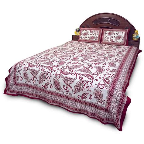 maroon bed set buy jaipuri print maroon cotton double bed sheet set online
