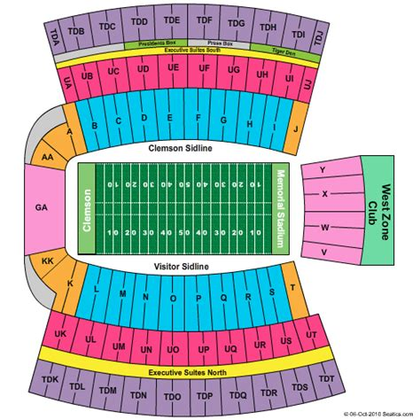 clemson seating chart valley clemson memorial stadium seating chart