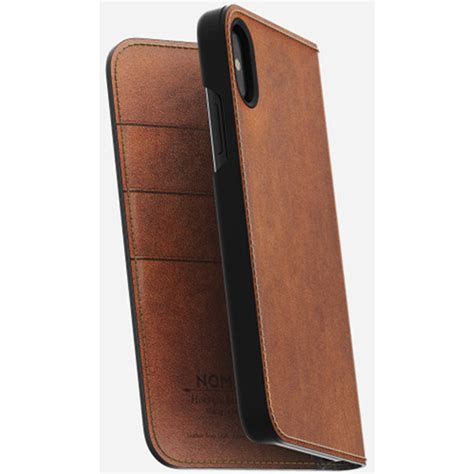 nomad leather folio for iphone x rustic brown