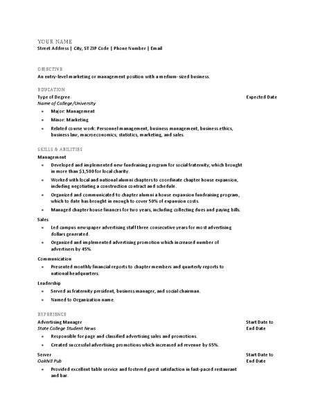 resume template college graduate resume for recent college