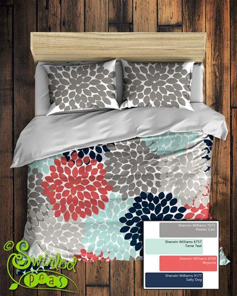 navy and coral bedding custom floral bedding in comforter or duvet style features