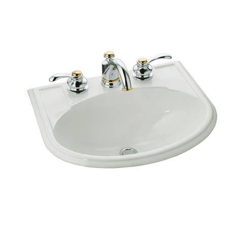 bathroom drop in sink shop kohler devonshire biscuit drop in oval bathroom sink