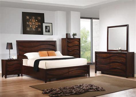 loncar pc queen wave bedroom set  java oak finish contemporary beds  modern furniture