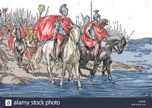 julius caesar 100 bc 44 bc crossing rubicon 49 bc 19th stock photo royalty free image