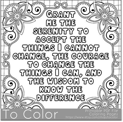 printable coloring quote pages for adults printable serenity coloring page for adults pdf jpg
