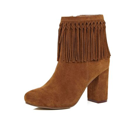 boots with tassels river island brown suede tassel ankle boots in brown