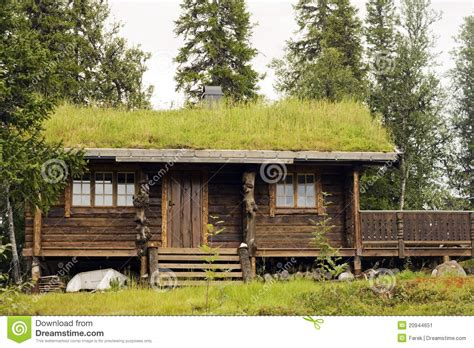 small house on a forest at the norway mountains stock