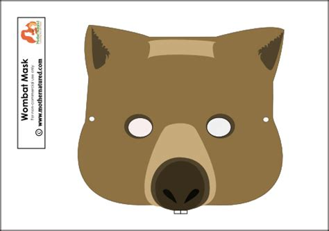 printable possum mask template wombat mask