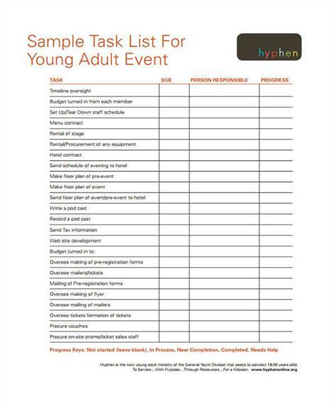 event task list template 22 task list sles in pdf