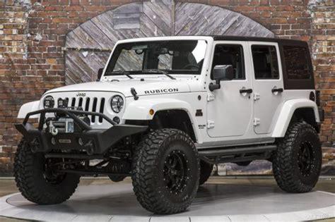 white jeep black rims lifted 15 rubicon white manual black mountain lift wheels tires