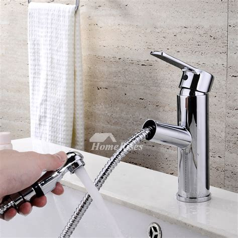 bathroom faucet  sprayer silver single hole chrome vessel
