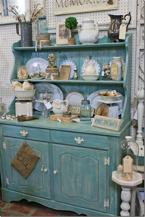 How To Decorate A Hutch by Hutch With Vintage Collectibles Country Cottage
