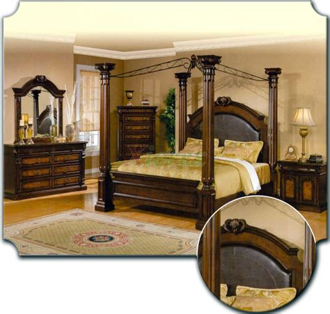 poster bedroom furniture set with leather headboard