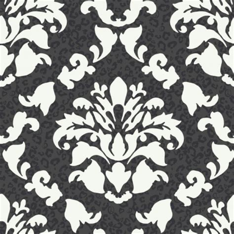 black and white novelty wallpaper big bold black and white dramatic damask leopard print