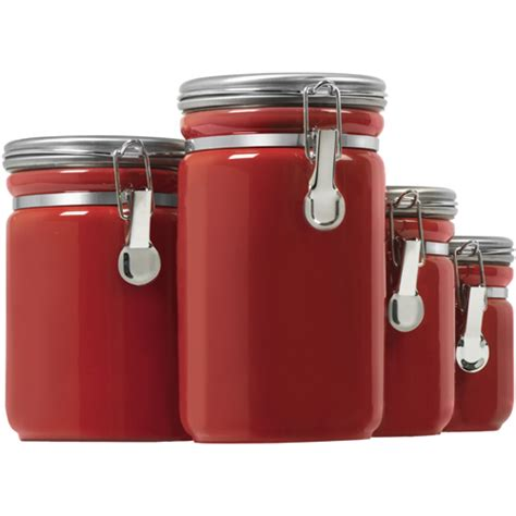 Kitchen Storage Canister Ceramic Kitchen Canisters Red Set Of 4 In Kitchen