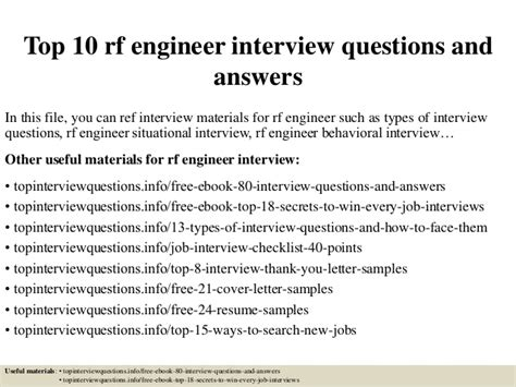 Rf Engineer Cover Letter by Top 10 Rf Engineer Questions And Answers