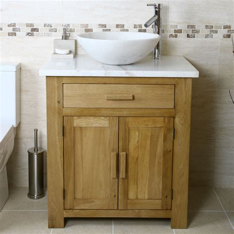50 oak vanity unit with white marble top bathroom