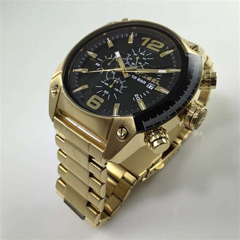 s gold diesel overflow chronograph steel dz4342