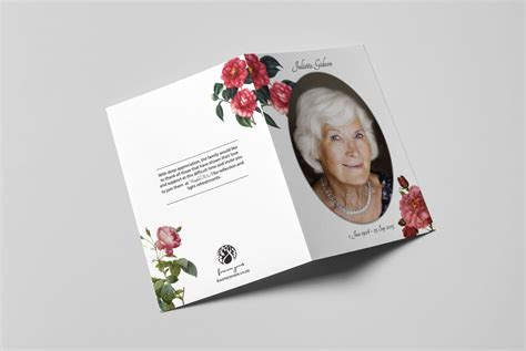 personalized memorial card red roses  booklet